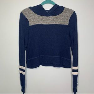 Hollister blue grey white hooded crop sweater